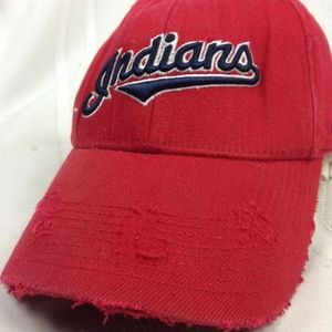 Distressed Cleavland Indians Fitted Hat Cap MLB Ba